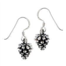 3D PINE CONE Christmas tree solid 925 Earrings Hook dangle Sterling Silver