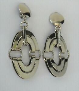 Vintage Drop Dangle Large Chrome Hoop Runway Statement Earrings Deco Design
