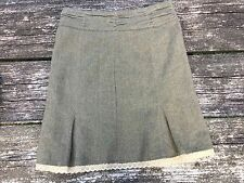 Old Navy Ladies Skirt Green Tan Herringbone Size 12 Lace Trim Bottom Pleat Lined