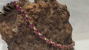 "Nice! 10k Yellow Gold Ruby? 7.75"" Bracelet 4.24g"