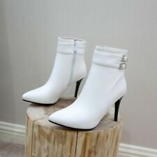 New Fashion Women Buckle Pointy Toe High Heel Casual Office Ankle Boots 44/50 D