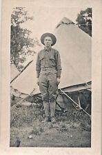 c1914 RPPC World War I WWI soldier in Uniform, Tent, Photo Postcard