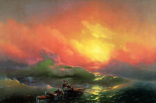 Oil painting Ivan Constantinovich Aivazovsky - The Ninth Wave - Seascape sunset