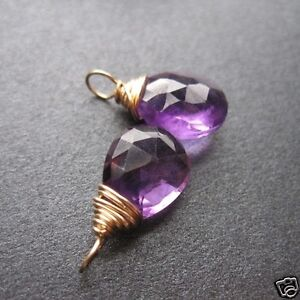 2 AMETHYST Wire Wrapped Gemstone Drops