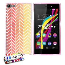 COQUE WIKO HIGHWAY STAR (4G) CHEVRONS ORANGES SILICONE ROSE SOUPLE (TPU)