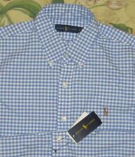 Mens Polo RALPH LAUREN Blue Gingham Longsleeve Button Down Shirt Large NWT