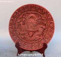 """9"""" Marked China Wood lacquerware Dragon Loong Animal Bead Screen Byobu Statue"""