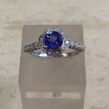 18ct Tanzanite and Diamond Cluster Ring. Size T.
