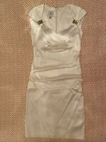 Suzi Chin by for Maggy Boutique Women's Embellished Dress Satin White Size 6