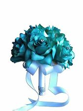 "8"" Wedding Bouquet - USA Seller - Jade Open Rose Bouquet"