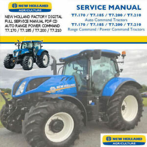 New Holland Tractor T7 Auto Range Power Command Tractors Factory Manual PDF CD !