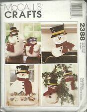 McCALL'S CRAFTS 2388 SNOWMAN CHRISTMAS ORNAMENT CARD HOLDER  NEW & UNCUT 1999