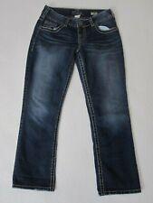 Silver Jeans Suki Capri Mid Rise Thick Stitch Stretch Dark Wash 29x26.5 B5