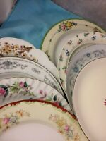 Vintage Set of 8 Mismatched China Luncheon Plates Wedding Mad Hatter Shabby #39