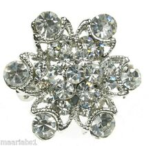 Silver Diamante Flower Rhinestone Brooch Broach Pin Costume Jewellery- - UK