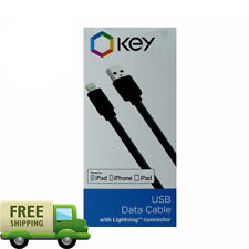 Key USB Data Cable Lightning Connector 3 FT cable Apple iPhone iP ad iPod NEW