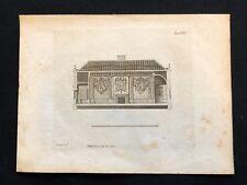 Antico 1800 Print costruttori MAGAZINE sezione di una stanza BANQUETING XIII