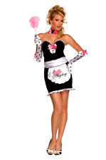 Ladies PLAYBOY MANSION MAID Costume Dress Gloves Choker Apron Adult Small 2 4 6