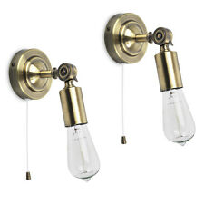 Pair of Vintage Industrial Style Antique Brass Pull Cord Switch Wall Lamp Lights