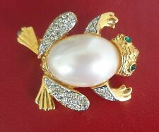 Kjl Kenneth Jay Lane Gold Tone Crystal & Sim Pearl Frog Pin Brooch