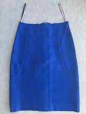 HERVE LEGER BLUE SAPPHIRE ELIAS PENCIL SKIRT: XS, Orig $700, Authentic, Preowned