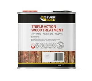 Everbuild Triple Action Wood Treatment | Preserver Dry & Wet Rot Decay | 2.5 L