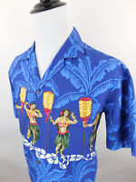 Winnie Fashion Men's Hawaiian Short Sleeve Shirt Blue sz Large Dancers Tiki