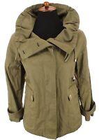 Talbots Womens Ruffled Oversize Collar Utility Jacket Nylon Cot Green Sz 10 / M