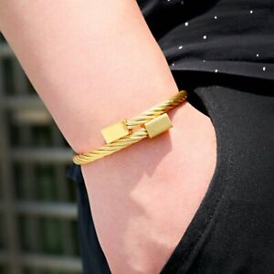 Men Women Stainless Steel Gold Silver Cable Wire Bracelet Bangle Fashion Jewelry