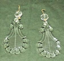 2 Vintage Murano Glass Italy 3 1/8 in Long Chandelier Crystal Clear Prism Pendan