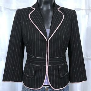 Size 2 Woman's THE LIMITED Black And Pink Pinstriped Blazer Jacket