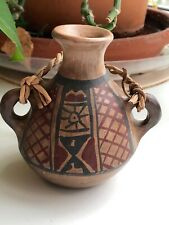 "Earthenware Pottery,2 Handled Pot , Signed ""Chile Ivan"", 4"" Tall x 3.5"" Diameter"