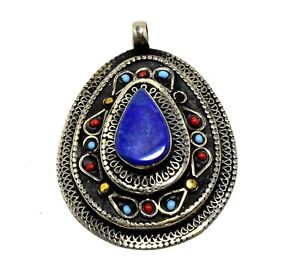Afghan Kuchi Silver Lapis Lazuli Stone Tribal Teardrop Pendant Vintage Ethnic