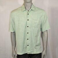 Jamaica Jaxx Mens XL Green Button Up Shirt Hawaiian Short Sleeve Tropical Silk