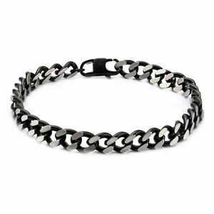 Men's Stainless Steel Black Plated Diamond Cut Chain Bracelet