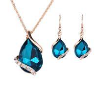 Damen Frauen Blau Wassertropfen Kristall Halskette + Ohrringe Set Schmuck Mode
