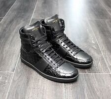 SAINT LAURENT Black Croc Crocodile Leather 41 42 7 7.5 8 Sneakers Trainers HiTop