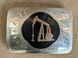 Johnson Held JH Hand Crafted Oil Rig Well Pump Inlay Western Belt Buckle EUC