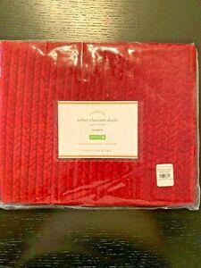 NEW Pottery Barn Velvet Channel Standard Sham Ruby RED