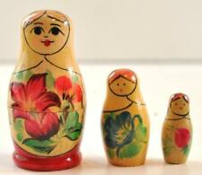 """3 Piece Russian Nesting Doll 3.25"""" Hand Painted Made In Ussr Excellent"""