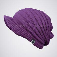 S- Visor Cable Knit Slouchy Baggy Beanie Oversize Winter Hat Cap Skull Ski Women