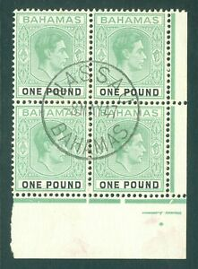 SG 157a Bahamas 1938 £1 blue, green & black. A superb used marginal block...