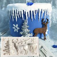 3D Reindeer Christmas Tree Snowflake Silicone Cake Decor Mold Fondant Baking DIY