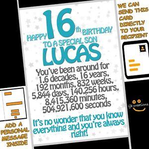 Personalised 16th Birthday Card Son Nephew Grandson 16 Funny Joke *ADD MESSAGE*