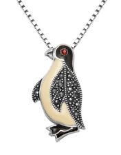 """Small Sterling Silver & Marcasite Penguin Pendant w/18"""" Box Chain - MPD43C"""