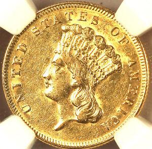 1874 $3 GOLD AU55 NGC-