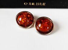 Sterling Silver 925 Baltic Amber Designer Round Dot Vintage Clip On Earrings