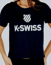 K-swiss woman lob Tshirt XL Black Iris Logo velvety Ksw183ts NWT new with tags