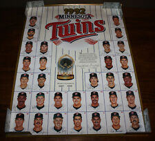 1992 Minnesota Twins World Series Trophy Kirby Puckett Roster 24x18 Poster
