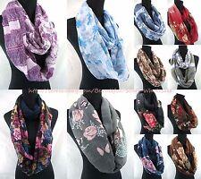 US SELLER-lot of 10 wholesale scarves loops vintage rose floral infinity scarf